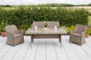 Merxx 7-teilig Riviera Set 2 Sessel + 1 Bank zweisitzig inkl. Kissen 1 Tisch naturgrau Stahl mit Kunststoffgeflecht