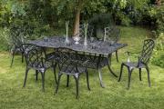 Merxx 7-teilig Rohodos Set 6 Rhodos Sessel mit Armlehne 1 Tisch 180 x 105 cm schwarz