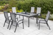 Merxx 7-teilig Sam Remo Set 6 Sessel mit grauer Textilbespannung 1 Design Ausziehtisch graphitfarbenes Gestell graue Glasplatte Gartenmöbel
