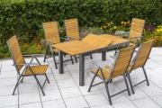 Merxx 7-teilig Santorin Set 6 Klappsessel 5-fach verstellbar 1 Ausziehtisch graphitfarbenes Gestell mit FSC Akazienholz Aluminium Gartenmöbel