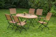 Merxx 7-teilig Schlossgarten Set 6 Klappsessel mit hoher Lehne 1 Klapptisch oval Flachstahl FSC Eukalyptusholz Gartenmöbel