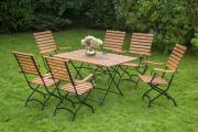 Merxx 7-teilig Schlossgarten Set 6 Klappsessel mit hoher Lehne 1 Klapptisch Flachstahl FSC Eukalyptusbelattung Gartenmöbel