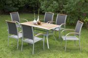 Merxx 7-teilig Siena Set 6 Siena Stapelsessel 1 Tisch 140 x 80 cm Tischplatte aus Akazienholz