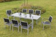 Merxx 9-teilig Arezzo Set 8 Stapelsessel 1 Ausziehtisch graue Glasplatte Aluminium mit Textilbespannung Gartenmöbel