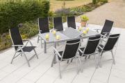 Merxx 9-teilig Carrara Set schwarz 8 Klappsessel 5-fach verstellbar 1 Ausziehtisch graue Glasplatte Aluminium Gartenmöbel