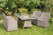 Merxx 9-teilig Riviera naturgrau Set 4 Sessel inkl. Kissen 1 Tisch Sicherheitsglas Stahl mit Kunststoffgeflecht Gartenmöbel