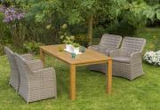 Merxx 9-teilig Riviera Set 4 Sessel inkl. Kissen naturgrau 1 Tisch FSC Akazie Stahl mit Kunststoffgeflecht Gartenmöbel