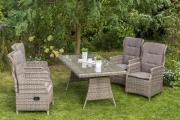 Merxx 9-teilig Riviera Set naturgrau 4 Sessel verstellbar durch Gasdruckfeder inkl. Kissen 1 Tisch Stahl mit Kunststoffgeflecht Gartenmöbel