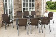 Merxx 9-teilig Set Varese 8 Stapelsessel braun/graphit 1 Ausziehtisch 180 Aluminium mit Kunststoffgeflecht Gartenmöbel