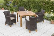 Merxx 9-teilig Toskana Set braun 4 Sessel inkl. Kissen Aluminiumgestell mit Kunststoffgeflecht und Akazienbeinen 1 Tisch Akazienholz Gartenmöbel