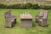Merxx 9-teilig Toskana Set natur 4 Hochlehnersessel inkl. Kissen 1 Tisch naturfabenes Kunststoffgeflecht Tischplatte aus FSC Akazie Gartenmöbel