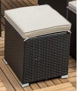 Merxx Fußhocker Salerno inkl. Sitzkissen, 40 x 40 x 43 cm, Stahlgestell mit Kunststoffgeflecht, Braun/Beige
