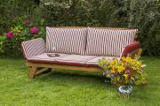 Merxx Gartenbank Liege, Armlehnen verstellbar, inkl. Kissen rot/beige , FSC Akazienholz
