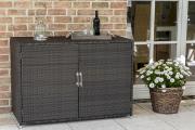 Merxx Gartenmöbel Konsolenschrank, 120 x 55 x 85 cm, braun, Stahl/Kunststoffgeflecht