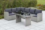 Merxx Gartenmöbel-Set Eckset Lanzarote, inkl. Sitzkissen- und Rückenkissen, Stahlgestell mit Kunststoffgeflecht, Grau