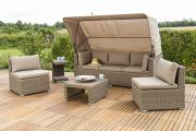 Merxx Gartenmöbel-Set Lounge Livorno 5-teilig mit Dach und Kissen