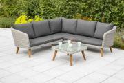 Merxx Gartenmöbel-Set Toscanella Eckbank mit Tisch 70 x 70 cm eckig, grau