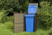 Merxx Mülltonnenabdeckung, 76 x 76 x 123 cm, braun, Stahl/Kunststoffgeflecht