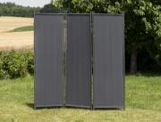 Merxx Paravent Raumteiler 183 x 183 cm, verlängerbar, Stahl Sichtschutz mit Textilbespannung grau