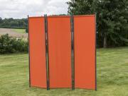 Merxx Paravent Raumteiler 183 x 183 cm, verlängerbar, Stahl Sichtschutz mit Textilbespannung terracotta