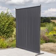 Merxx Sichtschutz Textil groß, 157 x 190 cm, 1 Segment, Stahl mit Textilbespannung grau