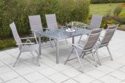 Merxx Taviano Set diamantbraun 7-teilig 6 Klappsessel Rückenlehne 5-fach verstellbar 1 Tisch graue Glasplatte Aluminium mit Textilbespannung Gartenmöbel
