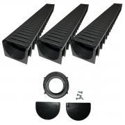 Mufle 4ALL A15 Entwässerungsrinne mit Stegrost Kunststoff 3er Set + Zubehörset