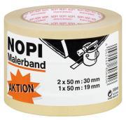 NOPI Malerkrepp Malerband Papierabdeckband 3er Pack 2 x 50m x 30mm + 1 x 50m x 19mm