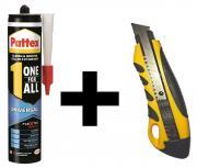 Pattex One for All Montagekleber 420g weiß + Cuttermesser