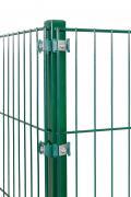 Peddy Shield Gartenzaun Zaun Eckpfosten mit Fuß (Montageplatte integriert 100/100mm) RAL 6005 grün Höhe 1300mm