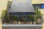 Peddy Shield HDPE Balkonsonnensegel 270 x 140 cm grau inkl. 4 x 3 m Kordel Wind- und Wasserdurchlässig