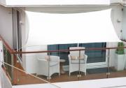 Peddy Shield Polyester Balkonsonnensegel 270 x 140 cm weiß inkl. 4 x 3 m Kordel mit Regenschutz