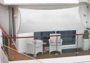 Peddy Shield Polyester Balkonsonnensegel 270 x 140 cm silbergrau inkl. 4 x 3 m Kordel mit Regenschutz