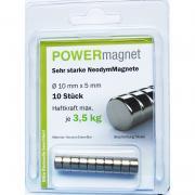 POWERmagnet Magnet Ø 10 x 5 mm Inhalt 10 Stück