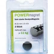 POWERmagnet Magnet Ø 20 x 5 mm Inhalt 2 Stück