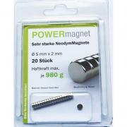 POWERmagnet Magnet Ø 5 x 2 mm Inhalt 20 Stück