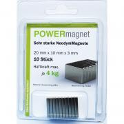 POWERmagnet Quadermagnet 20 x 10 x 3 mm Inhalt 6 Stück
