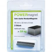 POWERmagnet Quadermagnet 40 x 10 x 5 mm Inhalt 2 Stück