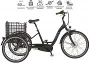 prophete E-Bike Dreirad 26 NAVIGATOR 3R Damen Herren 3-Gang Nabenschaltung 250 W schwarz glanz