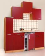 respekta Economy Küchenblock 180 cm Buche Nachbildung & Steinchenoptik mit Edelstahlkochfeld rot
