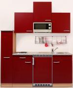 respekta Economy Küchenblock 180 cm Buche Nachbildung & Steinchenoptik mit Glaskeramikkochfeld inkl. Mikrowelle rot
