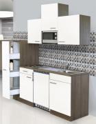 respekta Economy Küchenblock 180 cm Eiche York Nachbildung mit Edelstahlkochfeld inkl. Mikrowelle weiß