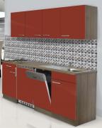 respekta Economy Küchenblock 195 cm Eiche York Nachbildung mit Edelstahlkochfeld rot