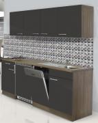 respekta Economy Küchenblock 195 cm Eiche York Nachbildung mit Edelstahlkochfeld grau
