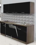 respekta Economy Küchenblock 195 cm Eiche York Nachbildung mit Edelstahlkochfeld schwarz
