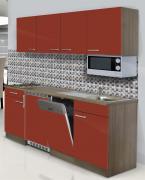 respekta Economy Küchenblock 195 cm Eiche York Nachbildung mit Glaskeramikkochfeld inkl. Mikrowelle rot