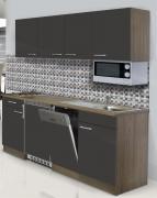 respekta Economy Küchenblock 195 cm Eiche York Nachbildung mit Glaskeramikkochfeld inkl. Mikrowelle grau