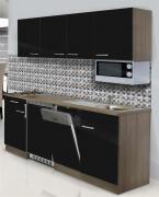 respekta Economy Küchenblock 195 cm Eiche York Nachbildung mit Glaskeramikkochfeld inkl. Mikrowelle schwarz