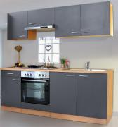 respekta Economy Küchenblock 210 cm Buche Nachbildung mit Edelstahlkochfeld grau