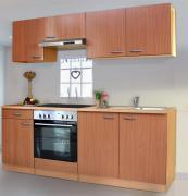 respekta Economy Küchenblock 210 cm Buche Nachbildung mit Glaskeramikkochfeld buche
